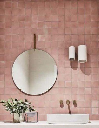 Peach coloured bathroom tiles used in the Pura luxury bathroom range by Bathroom Culture | Stylish bathroom installation in Phuket, Krabi & Phang Nga